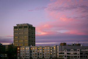 Durham skyline at sunset