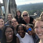 Civic engagement staff and friends at the top of Duke chapel after a chapel climb.